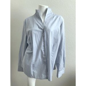 ETERNA 40 Shirt Blue 100% Cotton Long Sleeve